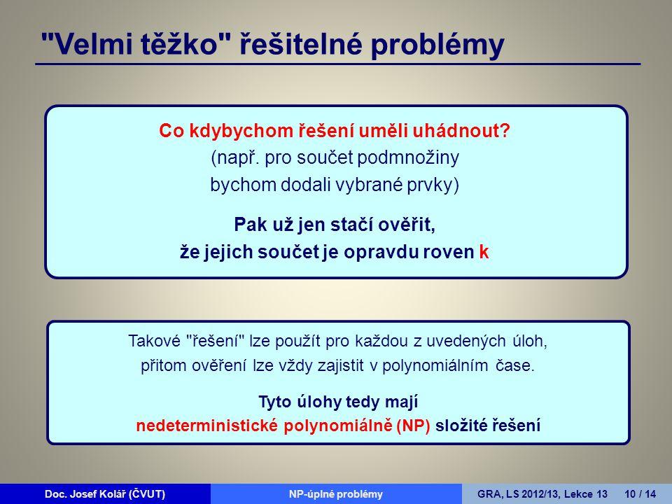Doc. Josef Kolář (ČVUT)Prohledávání grafůGRA, LS 2010/11, Lekce 4 10 / 15Doc.