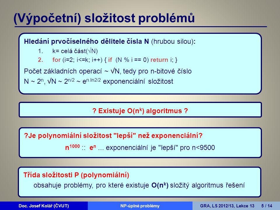 Doc. Josef Kolář (ČVUT)Prohledávání grafůGRA, LS 2010/11, Lekce 4 5 / 15Doc.
