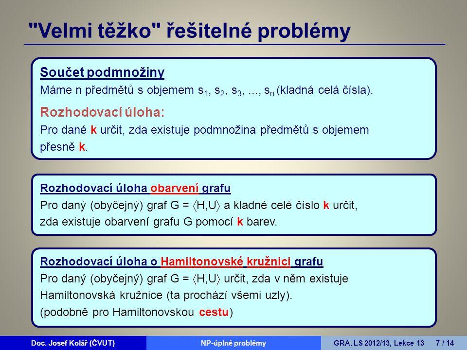 Doc.Josef Kolář (ČVUT)Prohledávání grafůGRA, LS 2010/11, Lekce 4 8 / 15Doc.