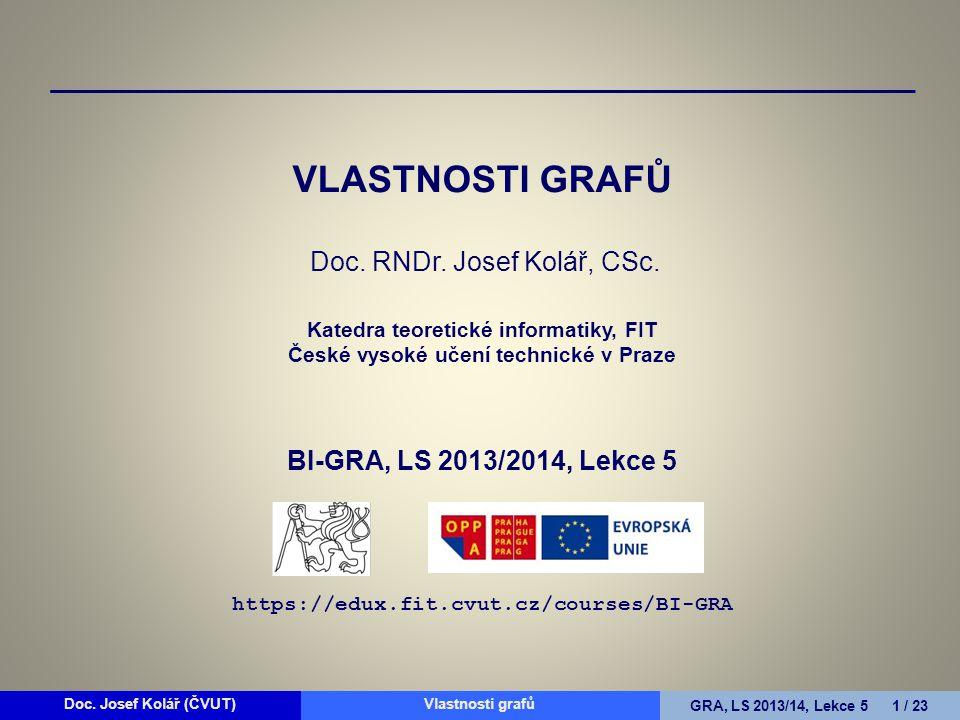 Doc.Josef Kolář (ČVUT)Prohledávání grafůGRA, LS 2010/11, Lekce 4 22 / 15Doc.