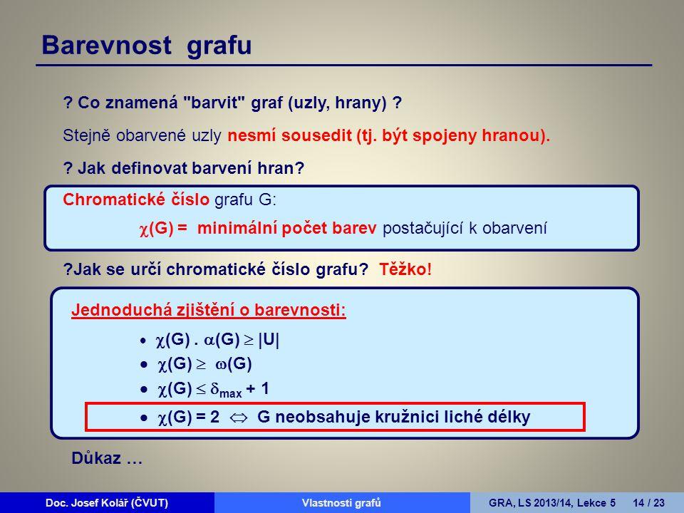 Doc. Josef Kolář (ČVUT)Prohledávání grafůGRA, LS 2010/11, Lekce 4 14 / 15Doc. Josef Kolář (ČVUT)Vlastnosti grafůGRA, LS 2013/14, Lekce 5 14 / 23 Barev