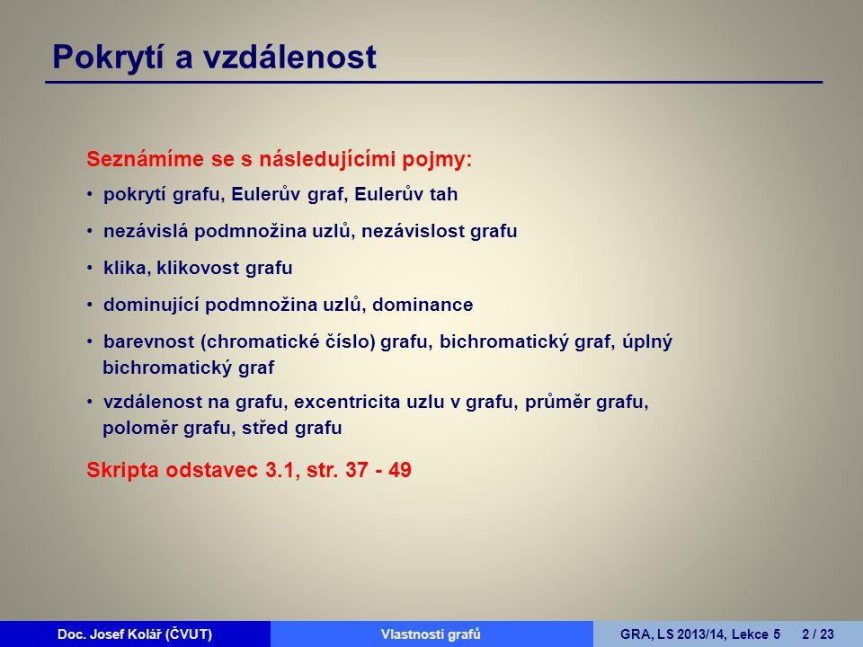 Doc. Josef Kolář (ČVUT)Prohledávání grafůGRA, LS 2010/11, Lekce 4 2 / 15Doc. Josef Kolář (ČVUT)Vlastnosti grafůGRA, LS 2013/14, Lekce 5 2 / 23 Pokrytí