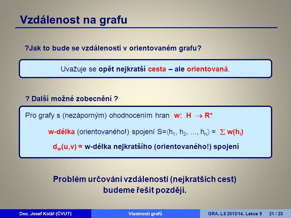 Doc. Josef Kolář (ČVUT)Prohledávání grafůGRA, LS 2010/11, Lekce 4 21 / 15Doc. Josef Kolář (ČVUT)Vlastnosti grafůGRA, LS 2013/14, Lekce 5 21 / 23 ?Jak