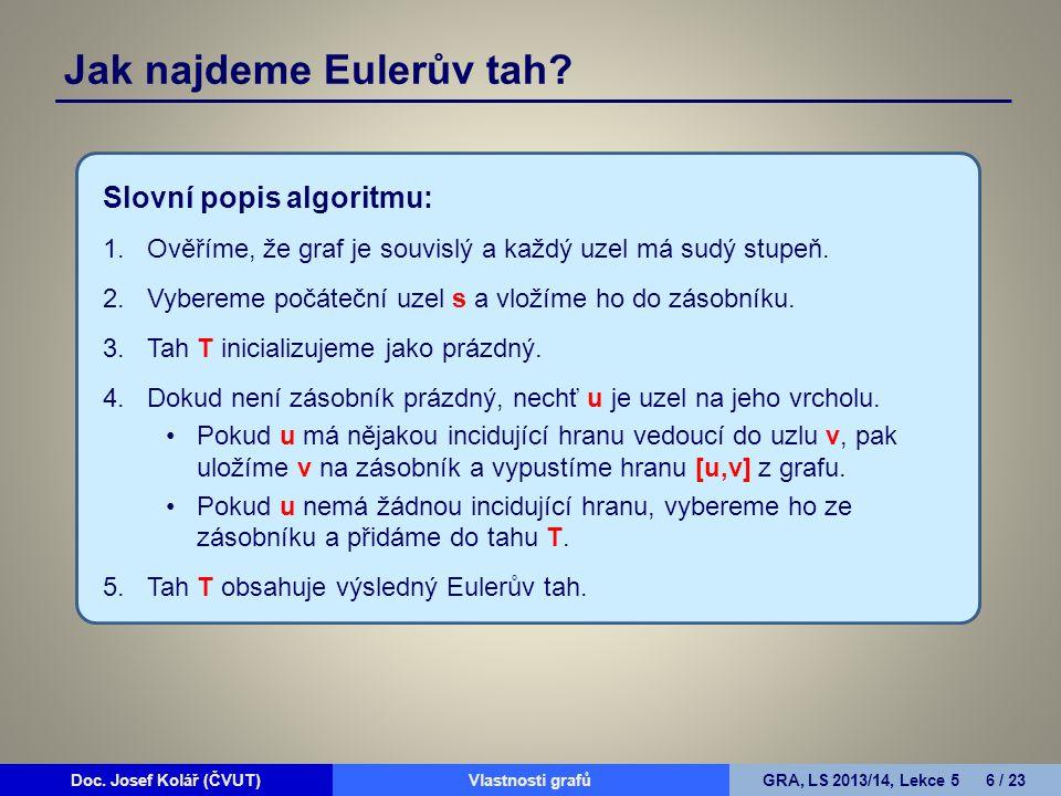 Doc.Josef Kolář (ČVUT)Prohledávání grafůGRA, LS 2010/11, Lekce 4 17 / 15Doc.