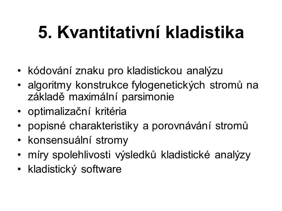 5. Kvantitativní kladistika kódování znaku pro kladistickou analýzu algoritmy konstrukce fylogenetických stromů na základě maximální parsimonie optima