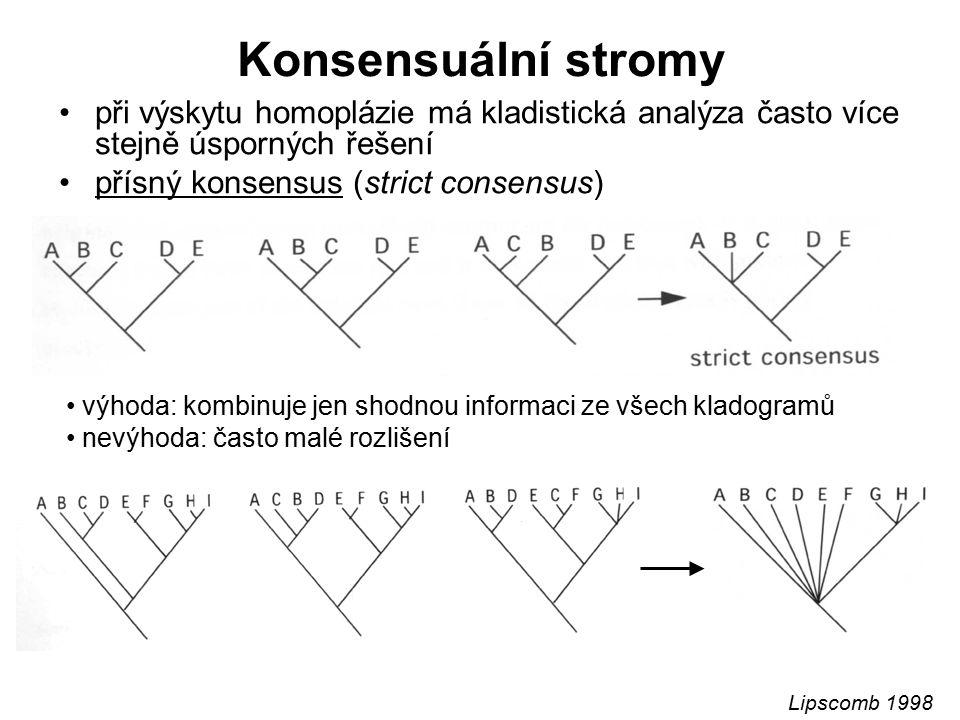 Konsensuální stromy při výskytu homoplázie má kladistická analýza často více stejně úsporných řešení přísný konsensus (strict consensus) výhoda: kombi