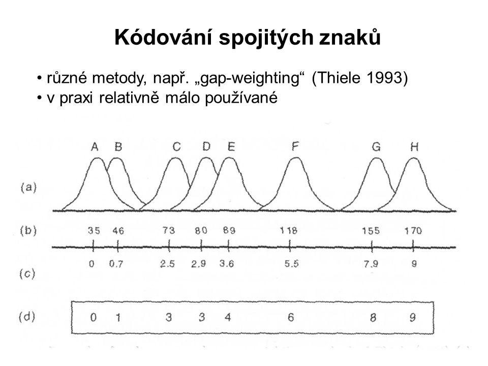 """Kódování spojitých znaků různé metody, např. """"gap-weighting"""" (Thiele 1993) v praxi relativně málo používané"""