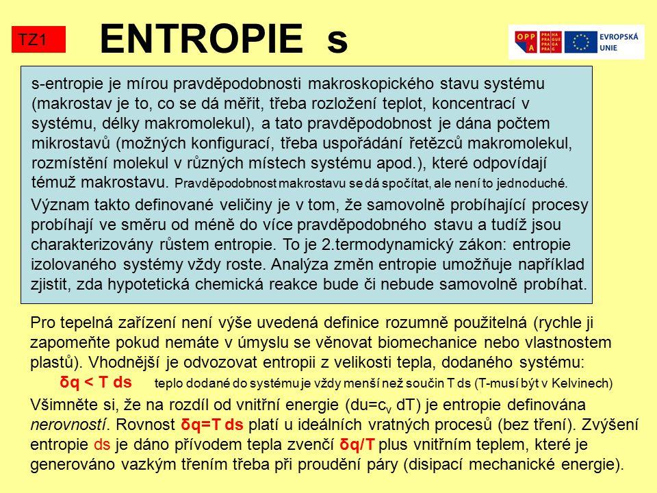 ENTROPIE s TZ1 s-entropie je mírou pravděpodobnosti makroskopického stavu systému (makrostav je to, co se dá měřit, třeba rozložení teplot, koncentrací v systému, délky makromolekul), a tato pravděpodobnost je dána počtem mikrostavů (možných konfigurací, třeba uspořádání řetězců makromolekul, rozmístění molekul v různých místech systému apod.), které odpovídají témuž makrostavu.