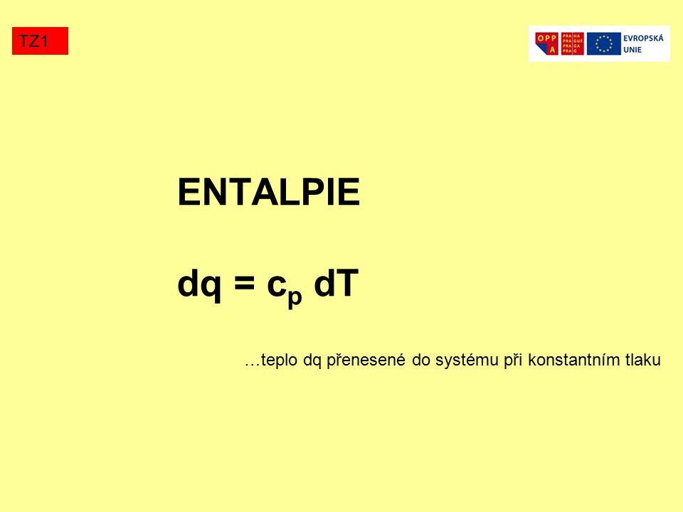 ENTALPIE dq = c p dT TZ1 …teplo dq přenesené do systému při konstantním tlaku