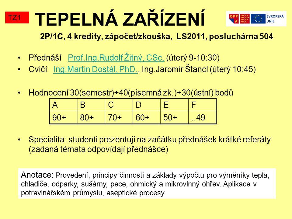 TEPELNÁ ZAŘÍZENÍ 2P/1C, 4 kredity, zápočet/zkouška, LS2011, posluchárna 504 Přednáší Prof.Ing.Rudolf Žitný, CSc.
