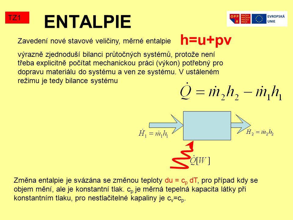 ENTALPIE TZ1 Zavedení nové stavové veličiny, měrné entalpie výrazně zjednoduší bilanci průtočných systémů, protože není třeba explicitně počítat mechanickou práci (výkon) potřebný pro dopravu materiálu do systému a ven ze systému.