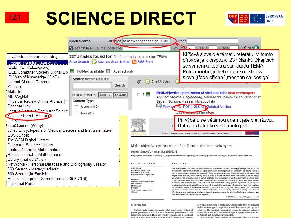 SCIENCE DIRECT TZ1 Klíčová slova dle tématu referátu.