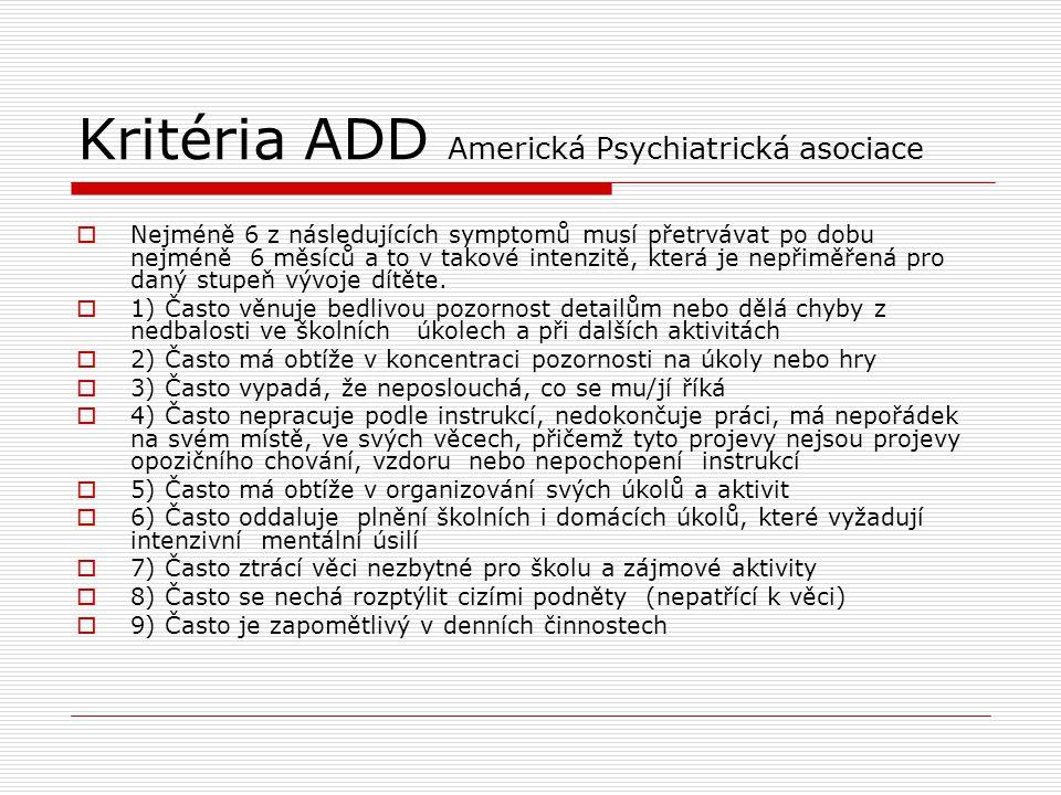 Kritéria ADD Americká Psychiatrická asociace  Nejméně 6 z následujících symptomů musí přetrvávat po dobu nejméně 6 měsíců a to v takové intenzitě, kt