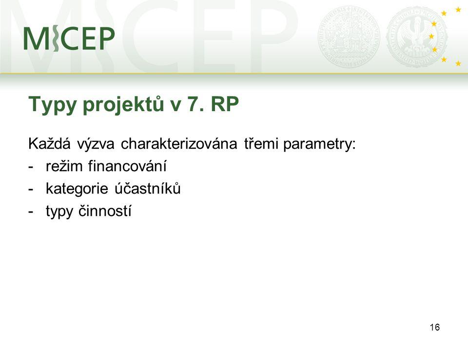 16 Typy projektů v 7. RP Každá výzva charakterizována třemi parametry: -režim financování -kategorie účastníků -typy činností