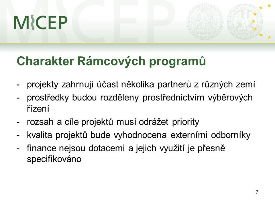7 Charakter Rámcových programů -projekty zahrnují účast několika partnerů z různých zemí -prostředky budou rozděleny prostřednictvím výběrových řízení
