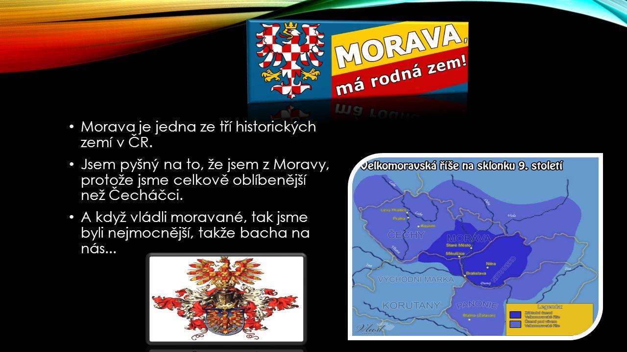 Morava je jedna ze tří historických zemí v ČR. Jsem pyšný na to, že jsem z Moravy, protože jsme celkově oblíbenější než Čecháčci. A když vládli morava