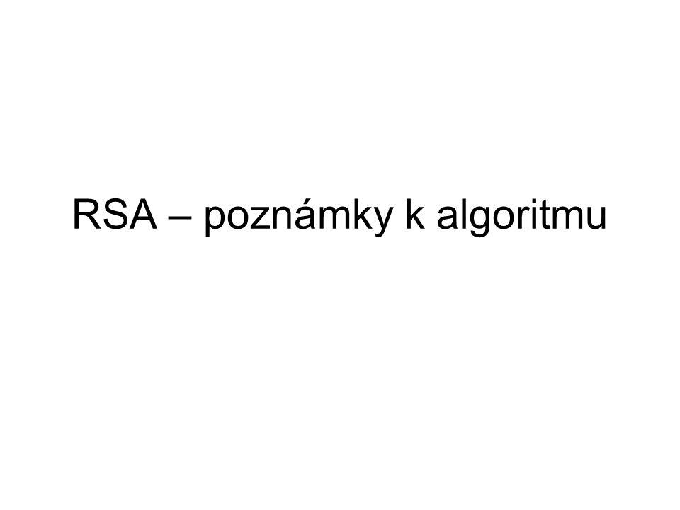 RSA – poznámky k algoritmu