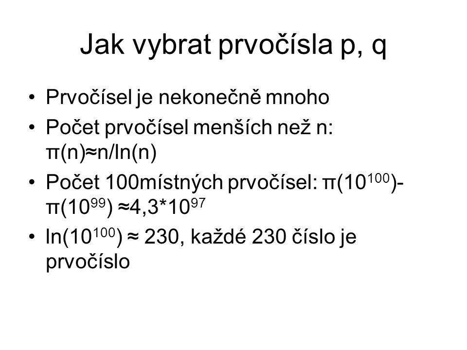 Jak vybrat prvočísla p, q Prvočísel je nekonečně mnoho Počet prvočísel menších než n: π(n)≈n/ln(n) Počet 100místných prvočísel: π(10 100 )- π(10 99 )