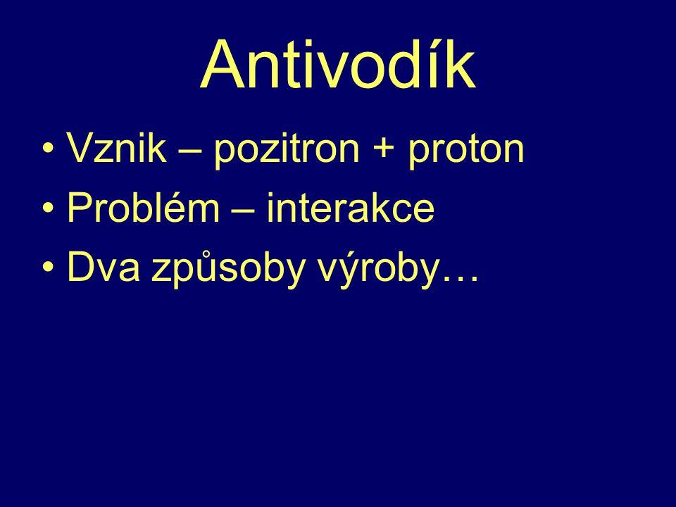 Antivodík Vznik – pozitron + proton Problém – interakce Dva způsoby výroby…