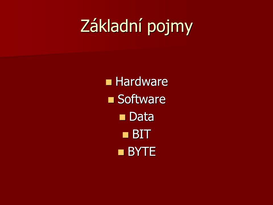 Základní pojmy Hardware Hardware Software Software Data Data BIT BIT BYTE BYTE