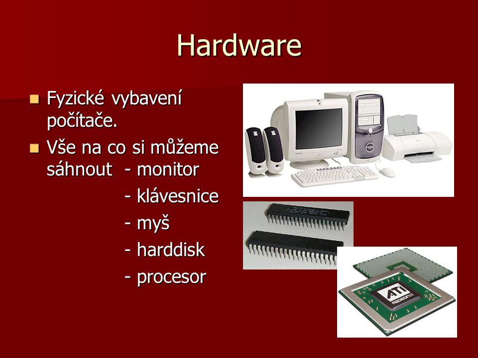 Hardware Fyzické vybavení počítače. Fyzické vybavení počítače. Vše na co si můžeme sáhnout - monitor Vše na co si můžeme sáhnout - monitor - klávesnic