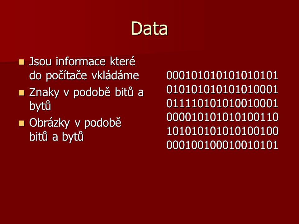 Data Jsou informace které do počítače vkládáme Jsou informace které do počítače vkládáme Znaky v podobě bitů a bytů Znaky v podobě bitů a bytů Obrázky