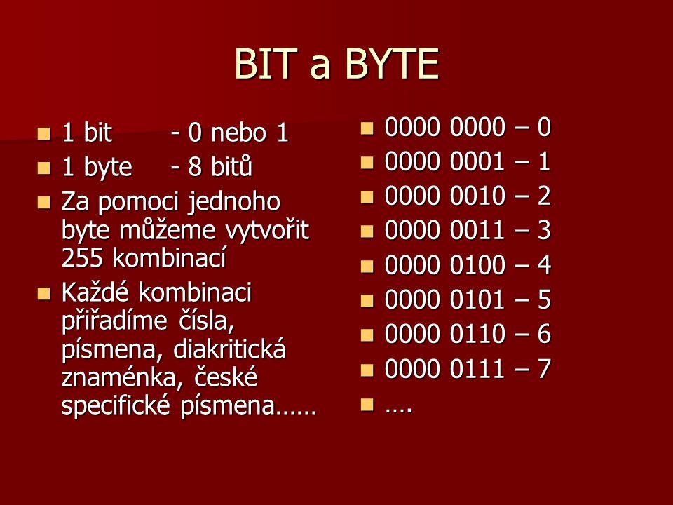 BIT a BYTE 1 bit - 0 nebo 1 1 bit - 0 nebo 1 1 byte - 8 bitů 1 byte - 8 bitů Za pomoci jednoho byte můžeme vytvořit 255 kombinací Za pomoci jednoho by