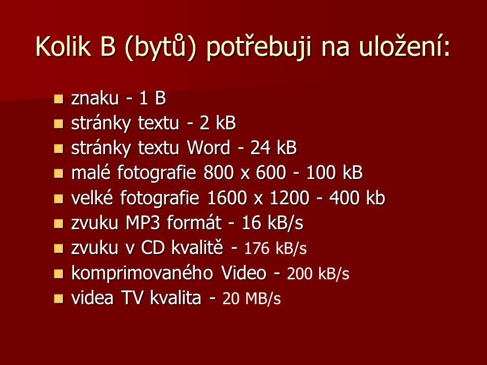Kolik B (bytů) potřebuji na uložení: znaku - 1 B znaku - 1 B stránky textu - 2 kB stránky textu - 2 kB stránky textu Word - 24 kB stránky textu Word -