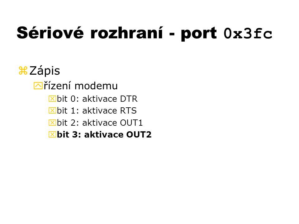 Sériové rozhraní - port 0x3fc zZápis yřízení modemu xbit 0: aktivace DTR xbit 1: aktivace RTS xbit 2: aktivace OUT1 xbit 3: aktivace OUT2