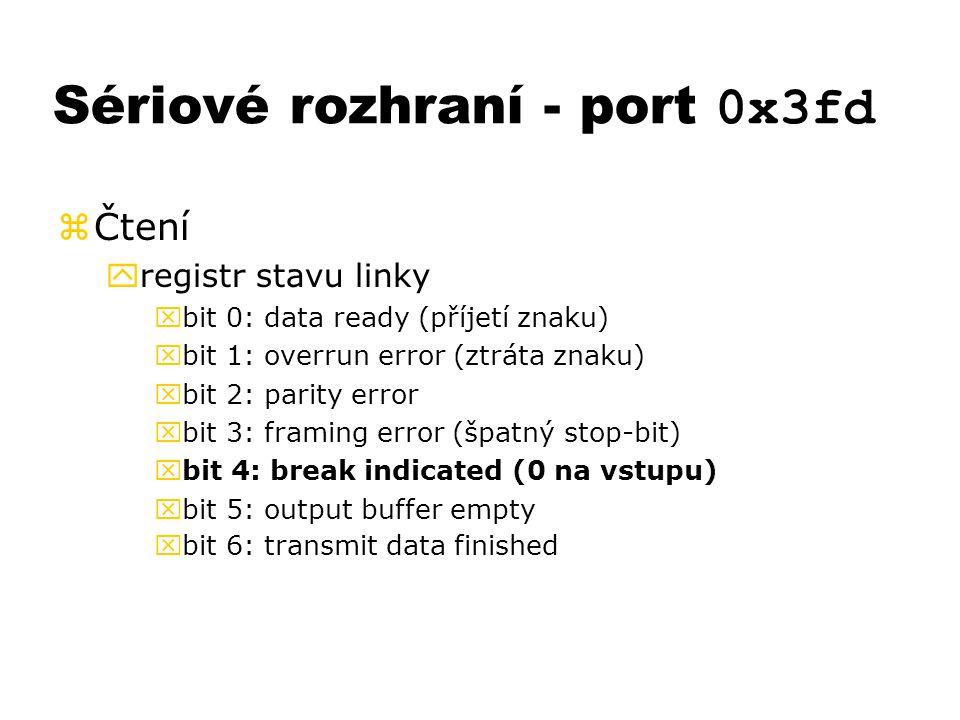 Sériové rozhraní - port 0x3fd zČtení yregistr stavu linky xbit 0: data ready (příjetí znaku) xbit 1: overrun error (ztráta znaku) xbit 2: parity error