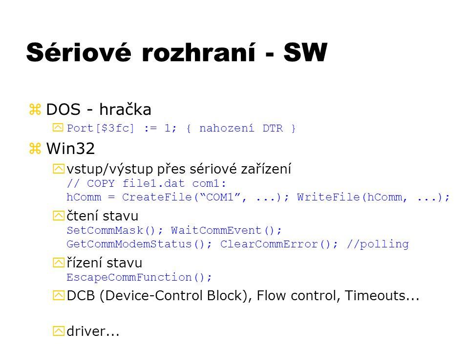 Sériové rozhraní - SW zDOS - hračka  Port[$3fc] := 1; { nahození DTR } zWin32  vstup/výstup přes sériové zařízení // COPY file1.dat com1: hComm = Cr