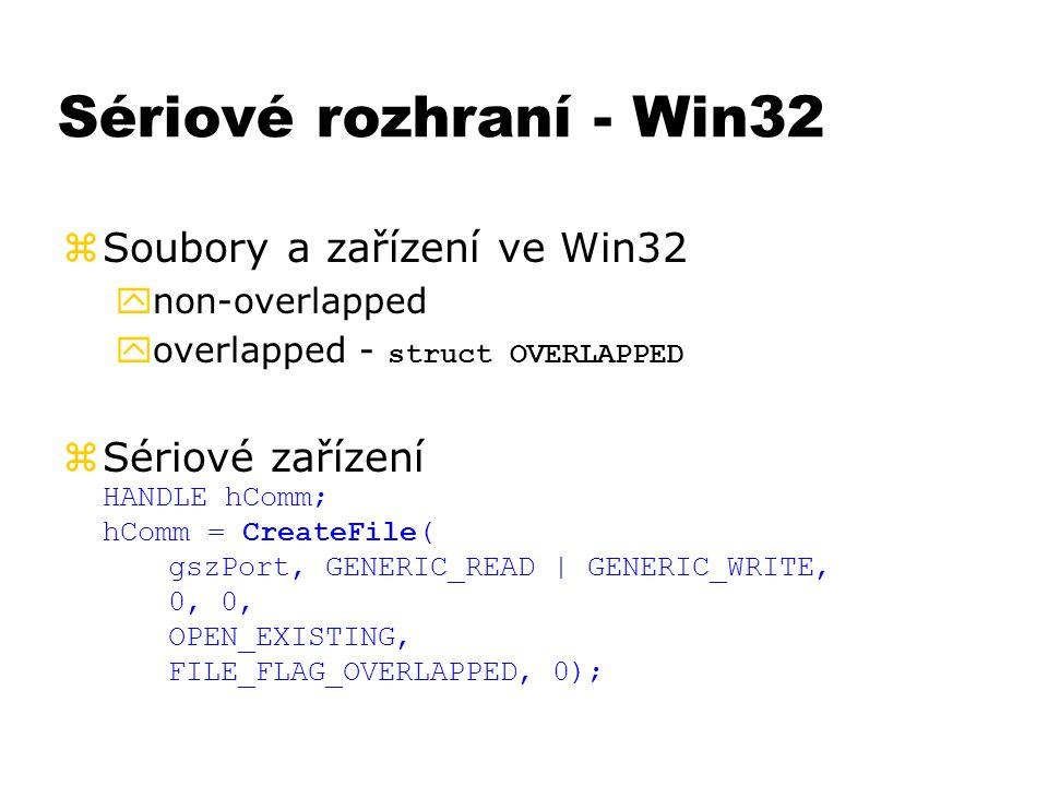 Sériové rozhraní - Win32 zSoubory a zařízení ve Win32 ynon-overlapped  overlapped - struct OVERLAPPED  Sériové zařízení HANDLE hComm; hComm = Create