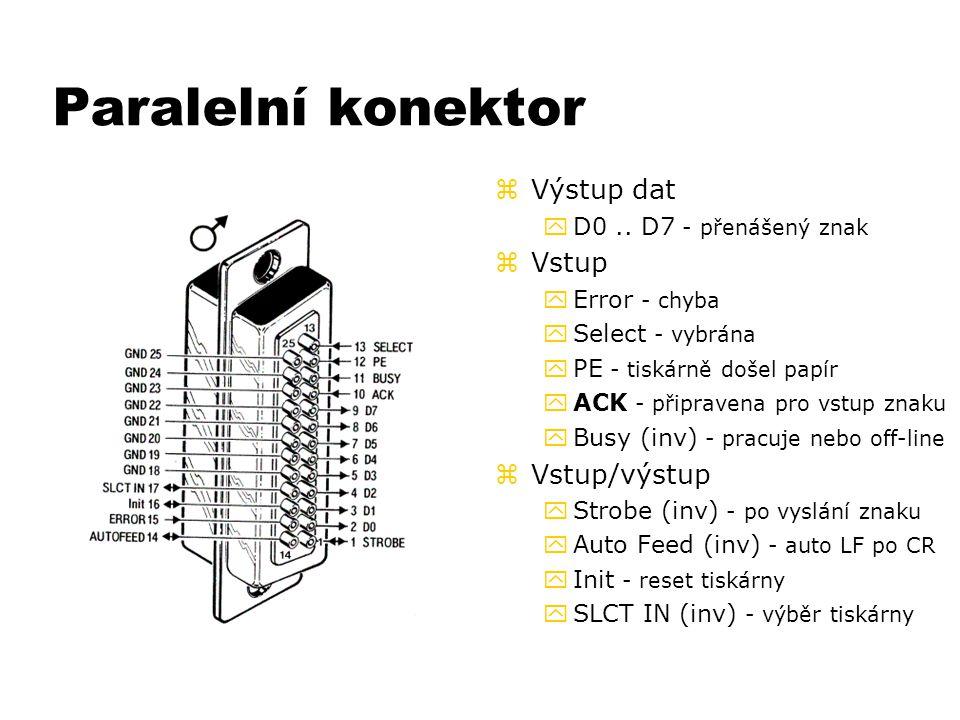 Paralelní konektor z Výstup dat yD0.. D7 - přenášený znak z Vstup yError - chyba ySelect - vybrána yPE - tiskárně došel papír yACK - připravena pro vs