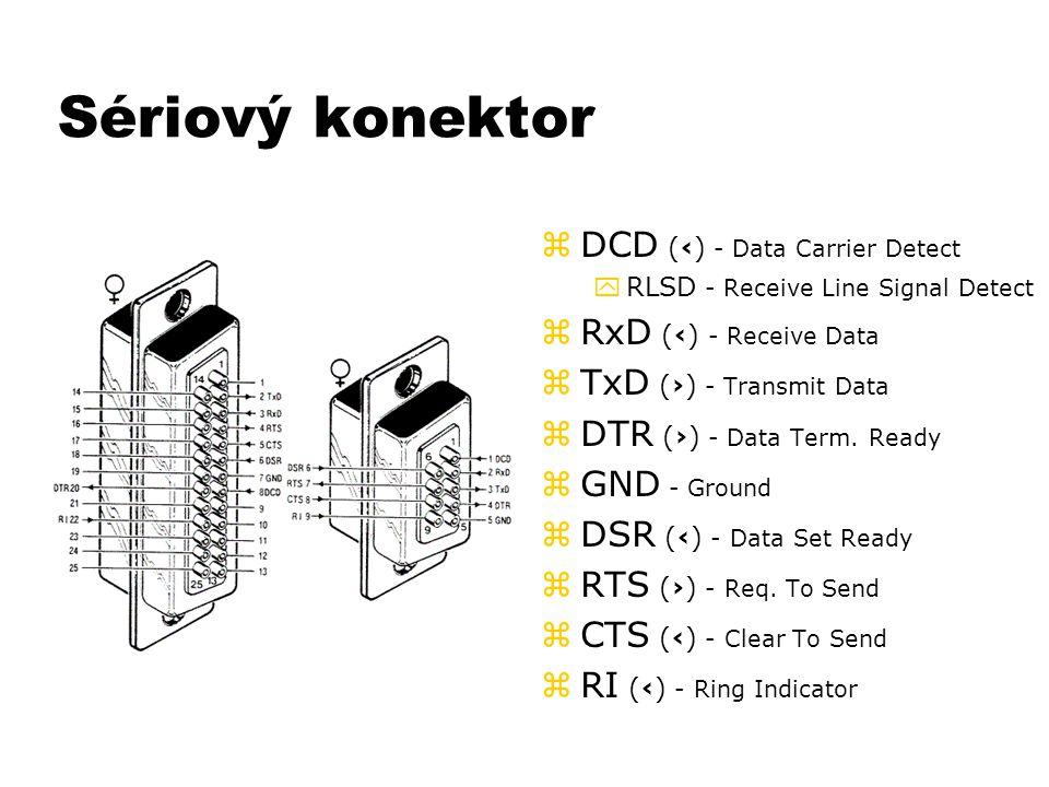Sériový konektor z DCD (‹) - Data Carrier Detect yRLSD - Receive Line Signal Detect z RxD (‹) - Receive Data z TxD (›) - Transmit Data z DTR (›) - Dat