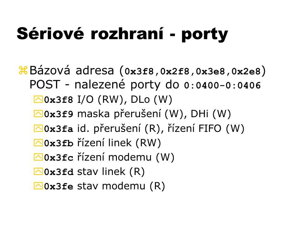 Sériové rozhraní - porty  Bázová adresa ( 0x3f8,0x2f8,0x3e8,0x2e8 ) POST - nalezené porty do 0:0400-0:0406  0x3f8 I/O (RW), DLo (W)  0x3f9 maska př