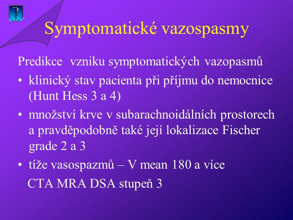 Symptomatické vazospasmy Predikce vzniku symptomatických vazopasmů klinický stav pacienta při příjmu do nemocnice (Hunt Hess 3 a 4) množství krve v subarachnoidálních prostorech a pravděpodobně také její lokalizace Fischer grade 2 a 3 tíže vasospazmů – V mean 180 a více CTA MRA DSA stupeň 3