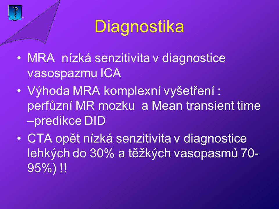Diagnostika MRA nízká senzitivita v diagnostice vasospazmu ICA Výhoda MRA komplexní vyšetření : perfůzní MR mozku a Mean transient time –predikce DID CTA opět nízká senzitivita v diagnostice lehkých do 30% a těžkých vasopasmů 70- 95%) !!