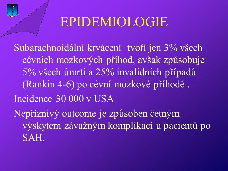 EPIDEMIOLOGIE Subarachnoidální krvácení tvoří jen 3% všech cévních mozkových příhod, avšak způsobuje 5% všech úmrtí a 25% invalidních případů (Rankin 4-6) po cévní mozkové příhodě.