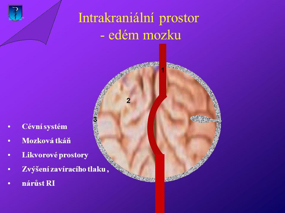 1 2 3 Cévní systém Mozková tkáň Likvorové prostory Zvýšení zavíracího tlaku, nárůst RI Intrakraniální prostor - edém mozku