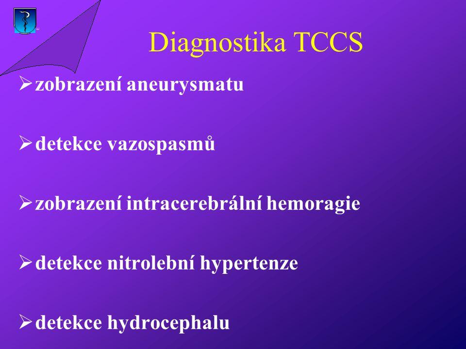 Diagnostika TCCS  zobrazení aneurysmatu  detekce vazospasmů  zobrazení intracerebrální hemoragie  detekce nitrolební hypertenze  detekce hydrocephalu