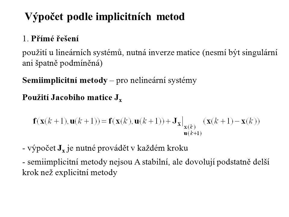 Výpočet podle implicitních metod 1. Přímé řešení použití u lineárních systémů, nutná inverze matice (nesmí být singulární ani špatně podmíněná) Semiim