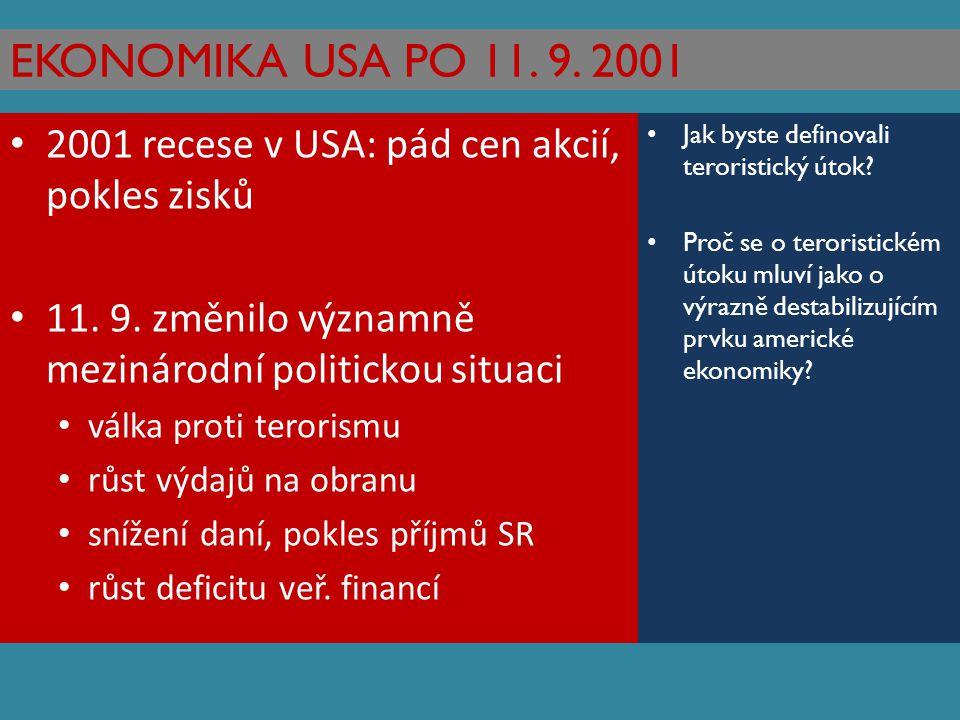 EKONOMIKA USA PO 11. 9. 2001 2001 recese v USA: pád cen akcií, pokles zisků 11. 9. změnilo významně mezinárodní politickou situaci válka proti teroris