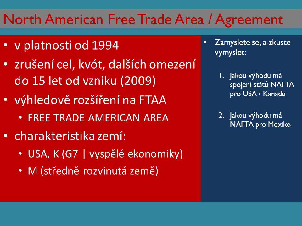 North American Free Trade Area / Agreement v platnosti od 1994 zrušení cel, kvót, dalších omezení do 15 let od vzniku (2009) výhledově rozšíření na FT