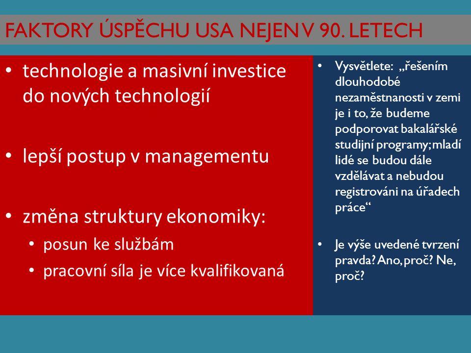 FAKTORY ÚSPĚCHU USA NEJEN V 90. LETECH technologie a masivní investice do nových technologií lepší postup v managementu změna struktury ekonomiky: pos