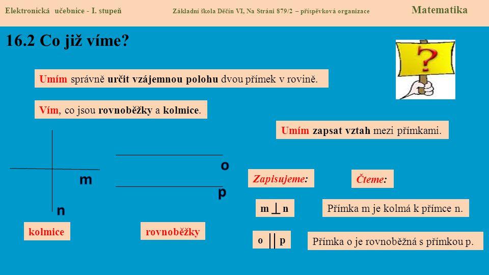 Elektronická učebnice - I. stupeň Základní škola Děčín VI, Na Stráni 879/2 – příspěvková organizace Matematika kolmice Zapisujeme: rovnoběžky m n o p
