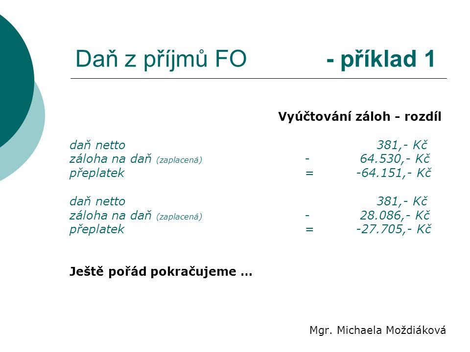 Daň z příjmů FO - příklad 1 Mgr. Michaela Moždiáková Vyúčtování záloh - rozdíl daň netto 381,- Kč záloha na daň (zaplacená) - 64.530,- Kč přeplatek= -