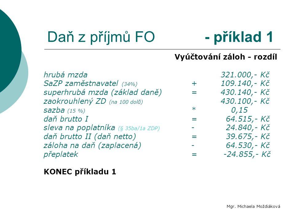 Daň z příjmů FO - příklad 1 Mgr. Michaela Moždiáková Vyúčtování záloh - rozdíl hrubá mzda321.000,- Kč SaZP zaměstnavatel (34%) +109.140,- Kč superhrub