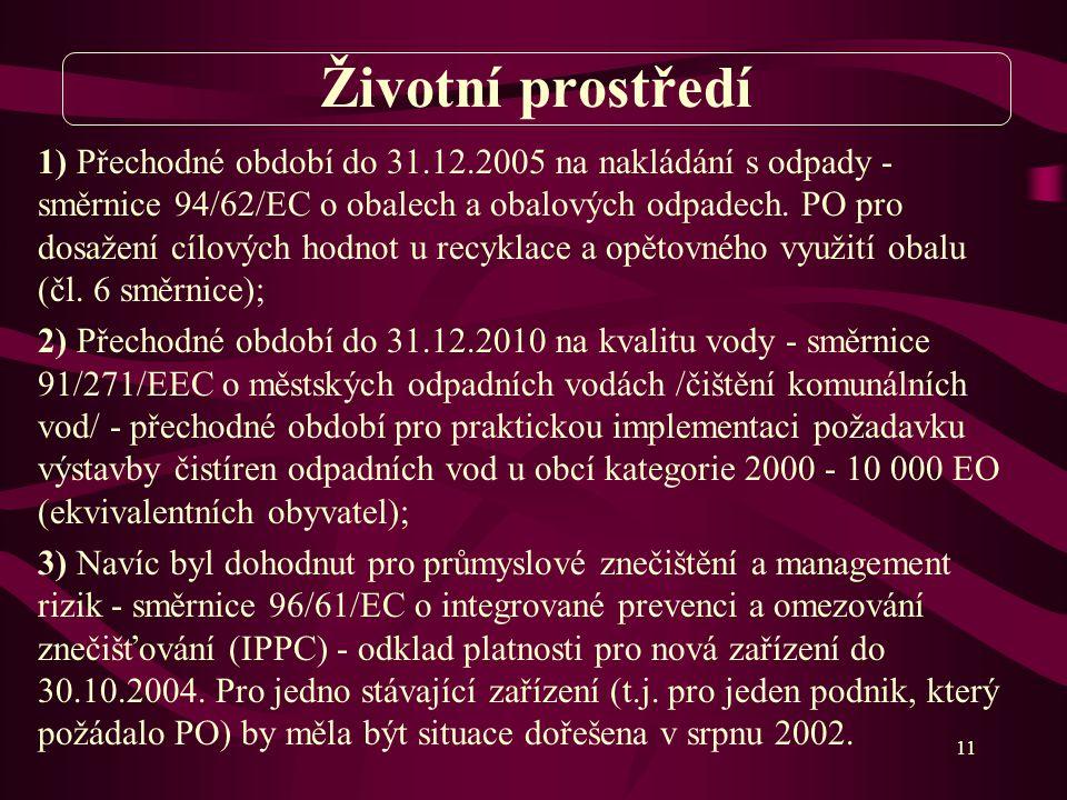 11 1) Přechodné období do 31.12.2005 na nakládání s odpady - směrnice 94/62/EC o obalech a obalových odpadech.