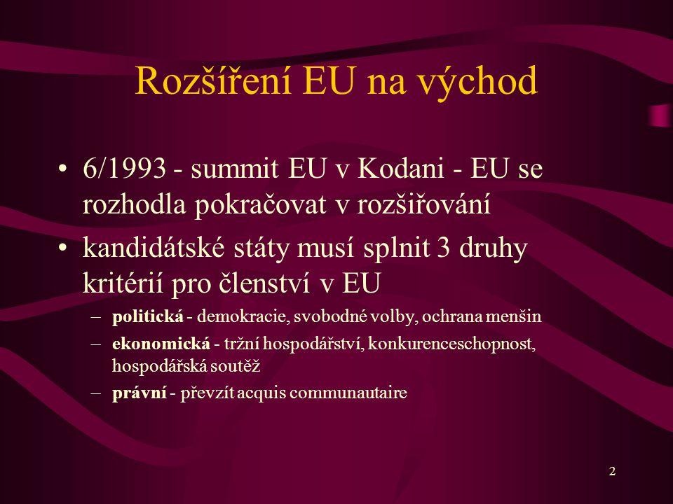 2 Rozšíření EU na východ 6/1993 - summit EU v Kodani - EU se rozhodla pokračovat v rozšiřování kandidátské státy musí splnit 3 druhy kritérií pro členství v EU –politická - demokracie, svobodné volby, ochrana menšin –ekonomická - tržní hospodářství, konkurenceschopnost, hospodářská soutěž –právní - převzít acquis communautaire