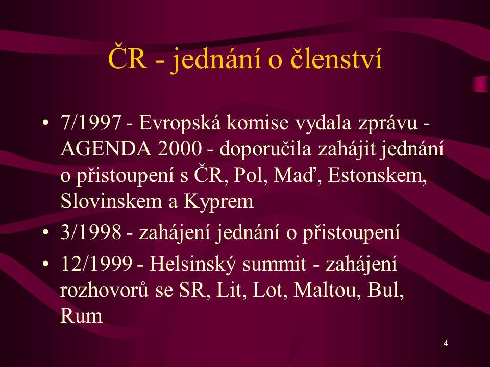 4 ČR - jednání o členství 7/1997 - Evropská komise vydala zprávu - AGENDA 2000 - doporučila zahájit jednání o přistoupení s ČR, Pol, Maď, Estonskem, Slovinskem a Kyprem 3/1998 - zahájení jednání o přistoupení 12/1999 - Helsinský summit - zahájení rozhovorů se SR, Lit, Lot, Maltou, Bul, Rum